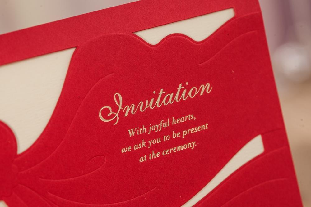 WISHMADE Chinese Red Fashion Horizontal Embossed Wedding Invitation ...