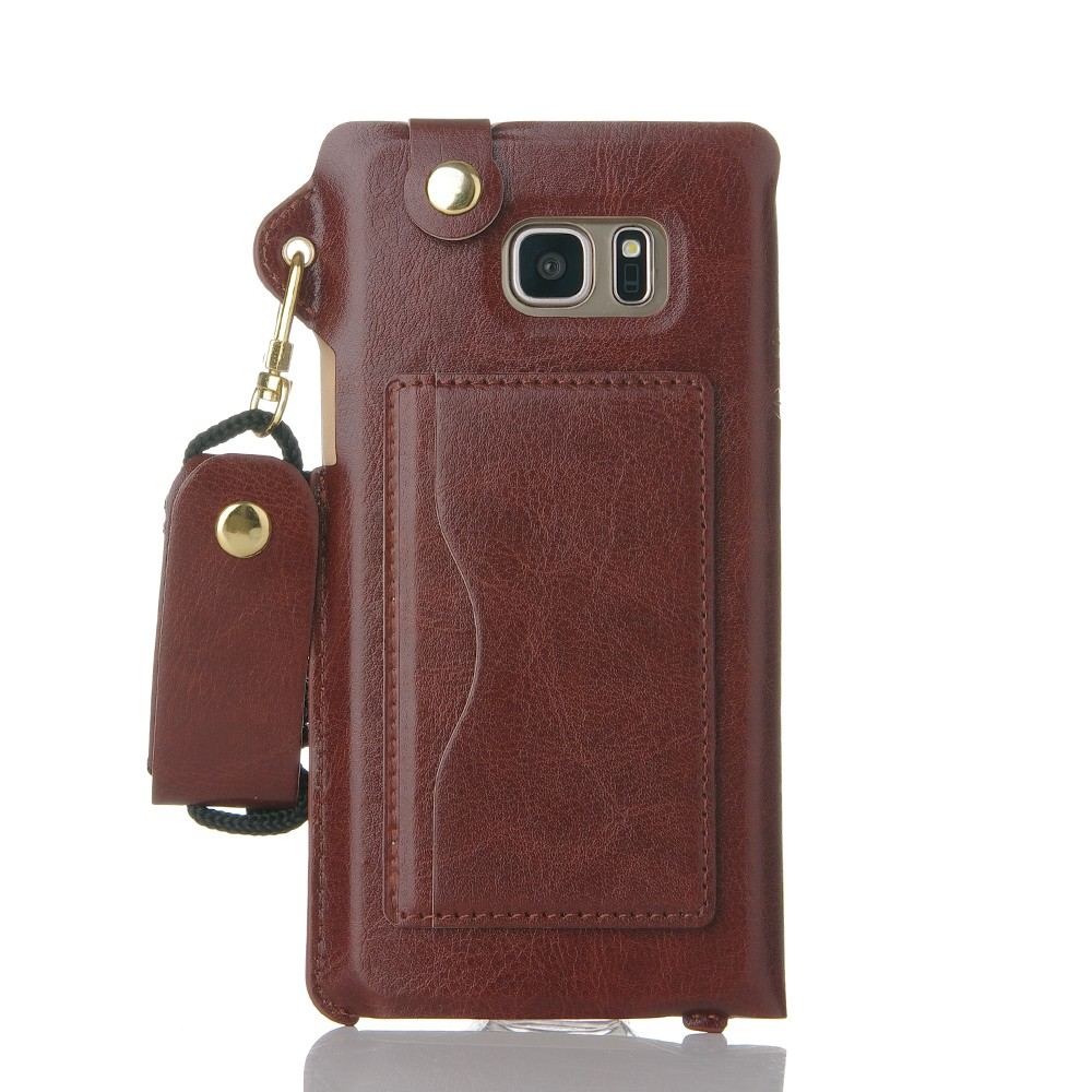 China wholesale mobile phone accessories pu leather back cover for Samsung Galaxy Note 7 case Brown