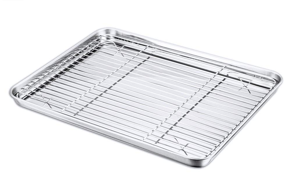 Baking Sheet and Rack Set, P&P Chef Stainless Steel Cookie Sheet Baking Pan Tray with Cooling Rack, Rectangle 16''x12''x1'', Healthy & Dishwasher Safe