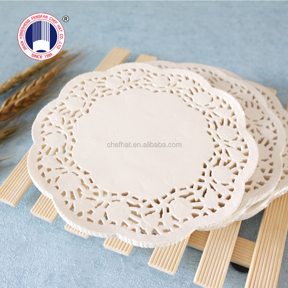"""6.5"""" Disposable white lace paper doyleys for cake/round lace paper doilies 16.5cm"""