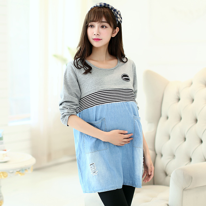 495c64b871e Get Quotations · Nursing clothes pregnant women maternity dress autumn  Breastfeeding lactating loose cotton and jeans dress pregnancy gravidity