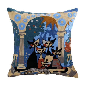 Picasso design embroidered lumbar support cushion cover