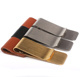 Multi-function silver stainless steel slim money clip with leather pen holder