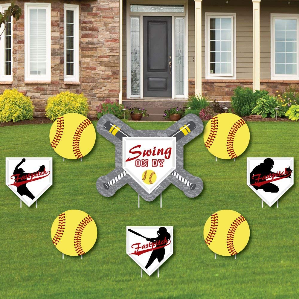 Big Dot of Happiness Grand Slam - Fastpitch Softball - Yard Sign & Outdoor Lawn Decorations - Birthday Party or Baby Shower Yard Signs - Set of 8