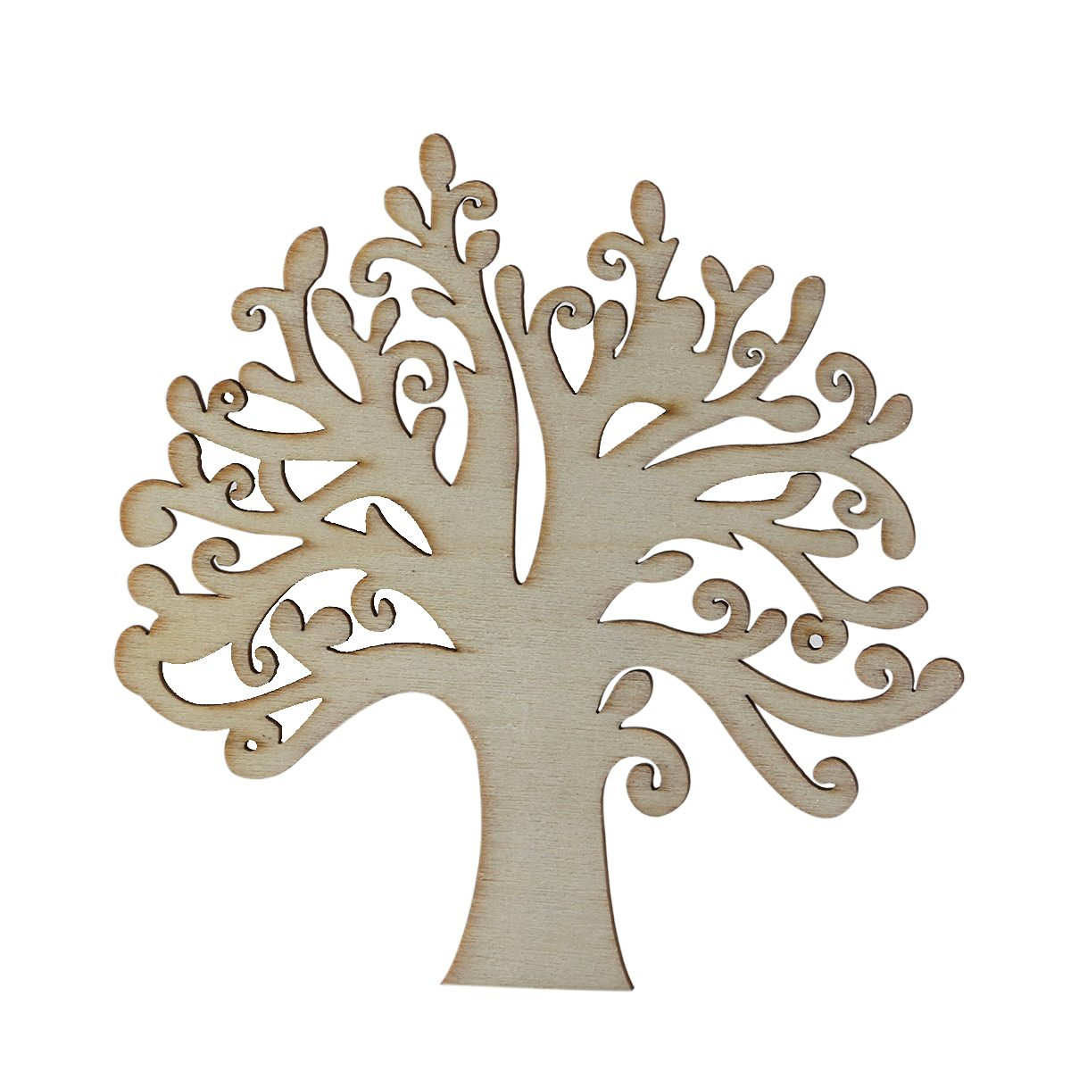 NUOLUX Blank Wooden Tree Embellishments for DIY Crafts Embellishments 10pcs (Wood Color)