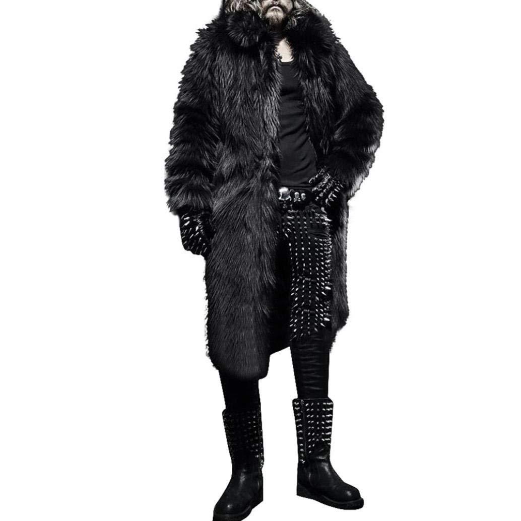 MOONHOUSE Winter Mens Cool Thick Fleece Winter Warm Coat,Leopard InsideTrench Jacket Parka Outwear Cardigan With Zipper