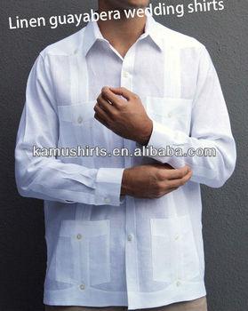 4dd8f5c15 Tradicional Linho Guayabera Camisas Homens Brancos Casamento Guayabera  camisas