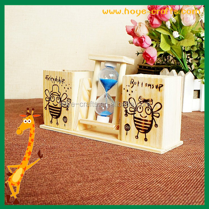 Desk Organizer Wooden Pen Holder Container Brush Pot Rotate Hourglass Birthday Gifts For Students Friends
