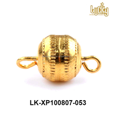 wholesale price necklace findings 14k gold plated copper alloy ball magnetic clasp with loops for necklaces
