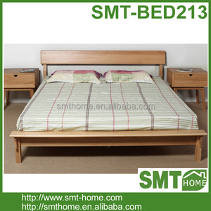 New Design Solid Pine Stylish Wooden Double Bed King Size