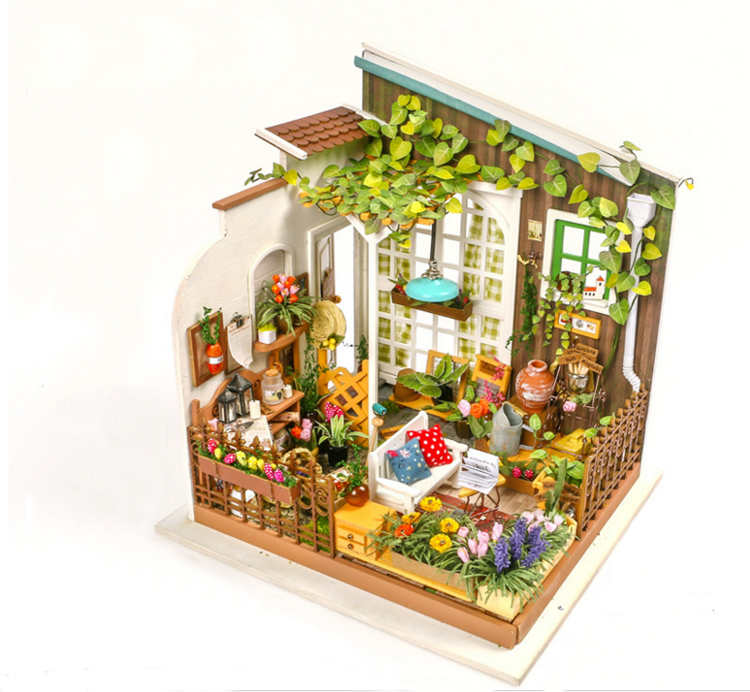 Hand made creative interesting sun wooden mini house diy 3d puzzle toy