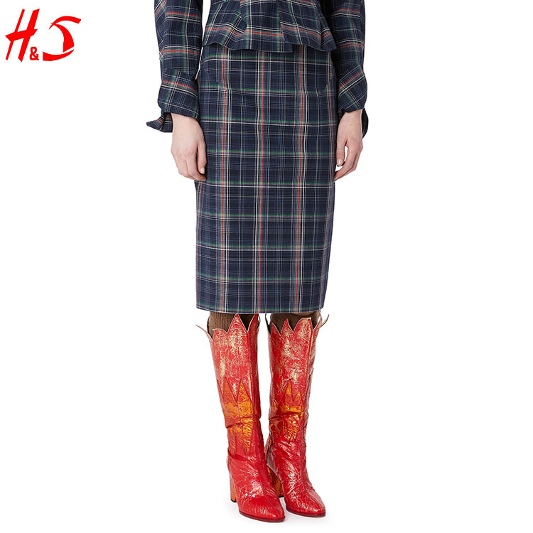 dong guan wholesale fashion latest long skirt design pretty lates tight plaid skirt for women on sale