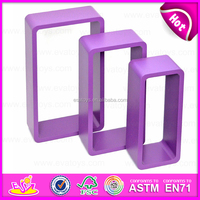 2015 Cheap free floating wooden toy rack,Colorful good wooden wall rack toy,Square 3 sets wooden rack toy for book & CD W08C107C