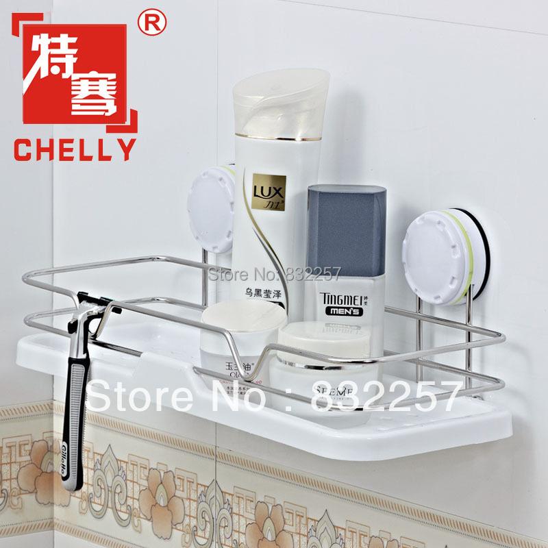 acier inoxydable en rack de rangement solide de bains ventouse tag re murale de salle de bains. Black Bedroom Furniture Sets. Home Design Ideas