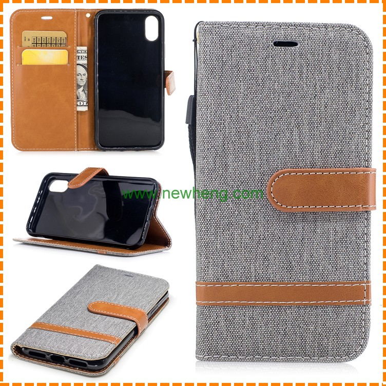Pure color wallet flip stand jean leather phone cover case for iphone 8