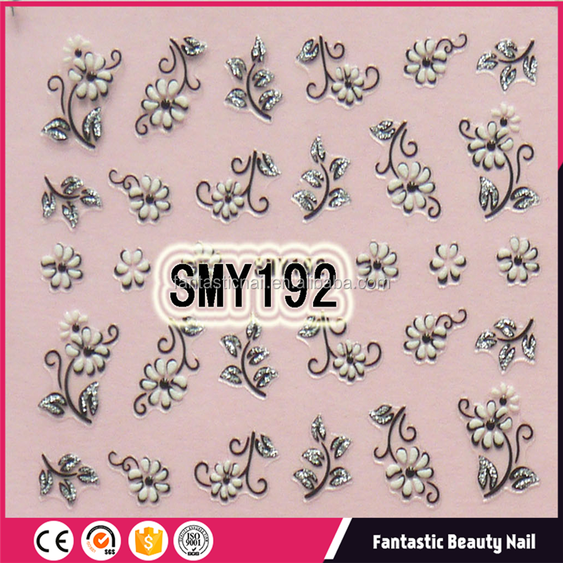 Beautiful 3 color lack white and silver flowers of 3D nail stickers