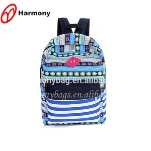 China manufacturer bule white cross stripe lightweight backpack