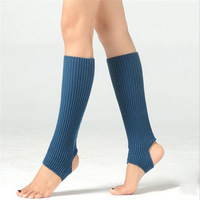 Solid color plain style knitted dance yoga women leg warmers with length 43cm