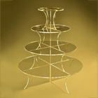 Stacking acrylic risers for wedding cake 4 tiers perspex cake tower with round platforms
