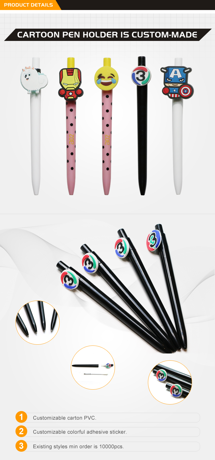Click Type OEM Custom Fanny Cartoon Clip Shape Plastic Ball Point Pen