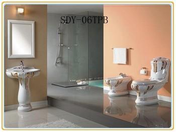 Warm te koop in rusland goud keramische toilet bidet wastafel