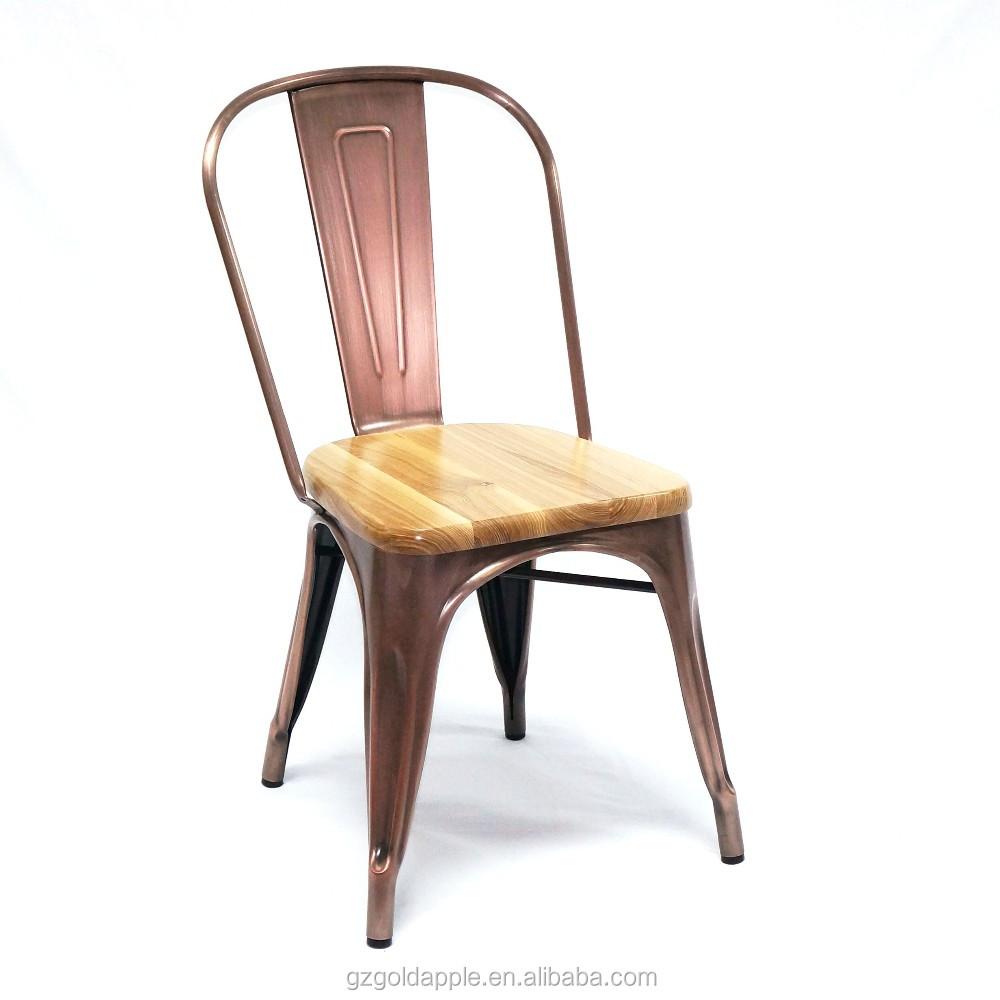 Chaise Bois Et Metal Industriel meubles de restaurant en métal cuivré dinant la chaise industrielle avec le  siège boisé solide - buy chaise de salle À manger,chaise en métal