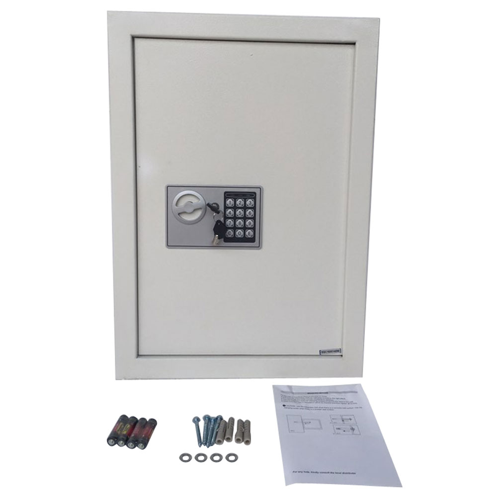 W56EF Home Office Security Keypad Lock Recessed Electronic Digital Steel Safe Box Gray White
