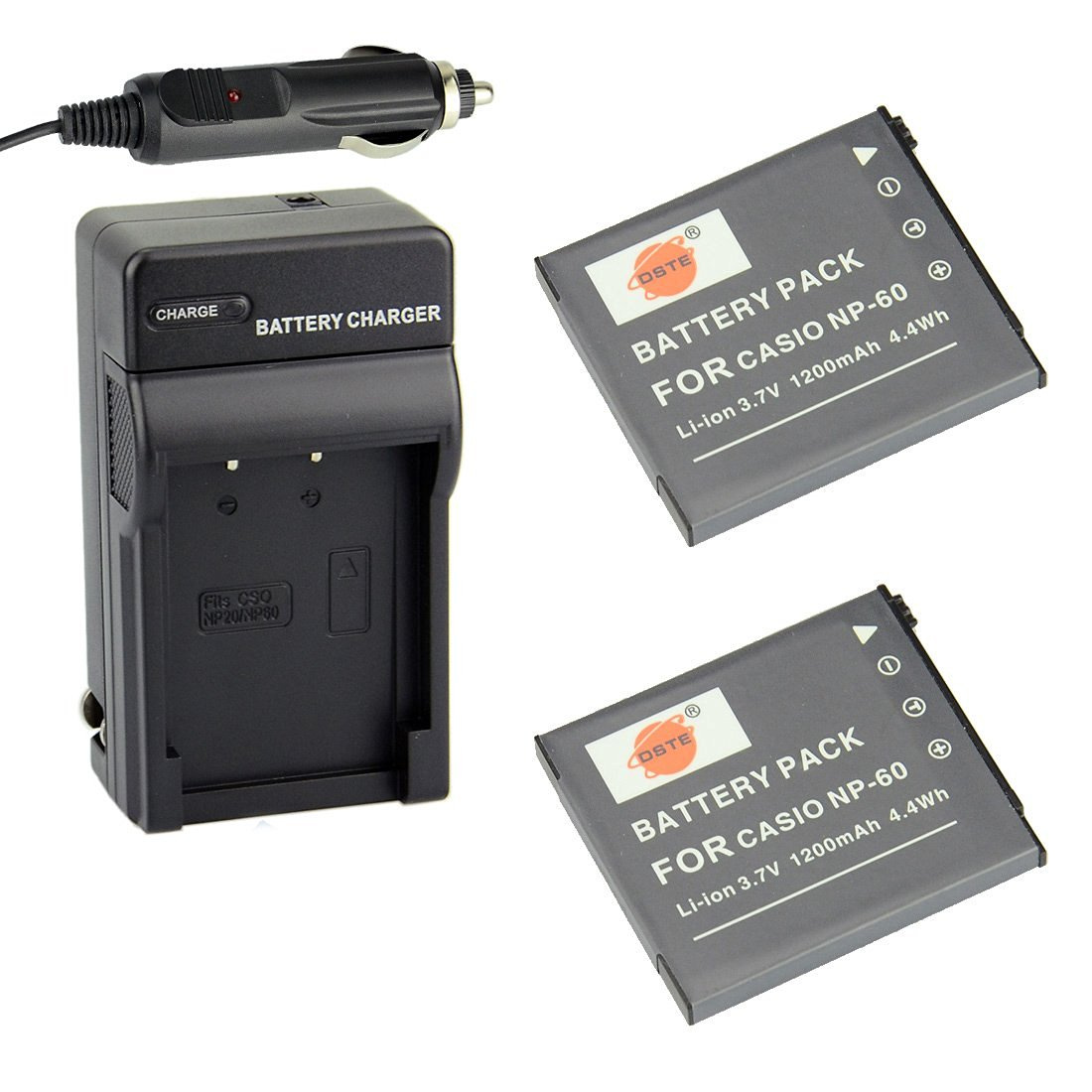 DSTE® 2x NP-60 Battery + DC75 Travel and Car Charger Adapter for Casio Exilim EX-FS10 EX-S10 EX-S12 EX-Z9 EX-Z19 EX-Z20 EX-Z21 EX-Z25 EX-Z29 EX-Z80 EX-Z85 EX-Z90 Digital Cameras