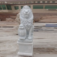 Garden White Marble Lion Outdoor Statue