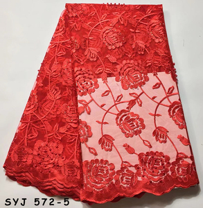 Sinyafashion Red Dubai African Mesh Lace Fabric French Tulle Lace With Pearls Nigeria Net Lace