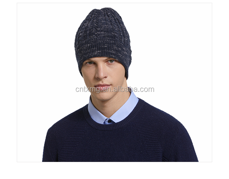 Customized logo wool cotton knitted male beanie hat