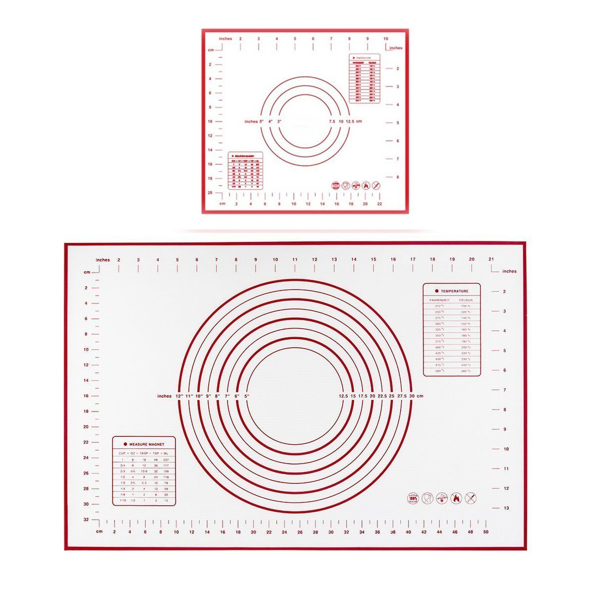 Polkar Silicone Pastry Mat With Measurements,FDA Approved and BPA Free,Non-slip Sheet Sticks to Countertop for Rolling Dough (Red-Large(23.6''X15.7'') Small(11.4''X10.2''))