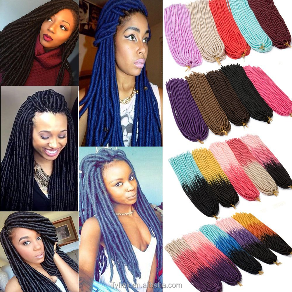 2017 new products soft dreadlocks braids,ombre crochet braids faux locs, ebony soft dread lock synthetic braiding hair