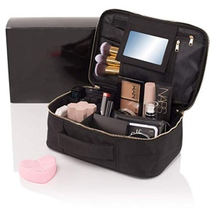 Premium cosmetic train case travel makeup bag with mirror