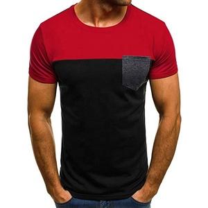 Mens t-shirt manufacturer custom pocket tee shirt cotton t shirt with contrast pocket