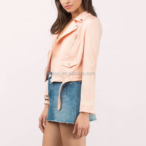 casual woman short cool style zip fashion pink leather motorcycle jacket