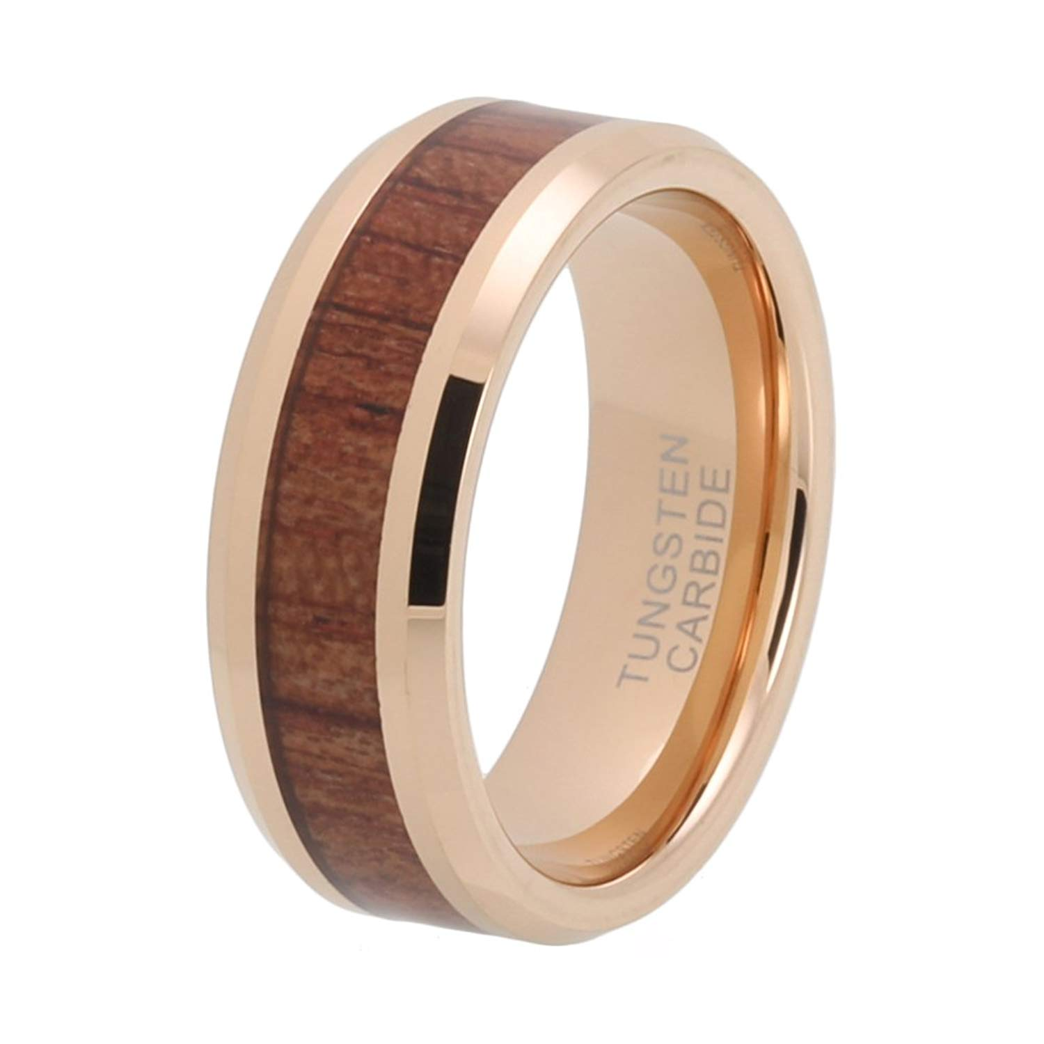 f878d1a81a5 Get Quotations · iTungsten 8mm Rose Gold Womens Mens Wedding Bands Tungsten  Carbide Ring Koa Wood Inlay Comfort Fit