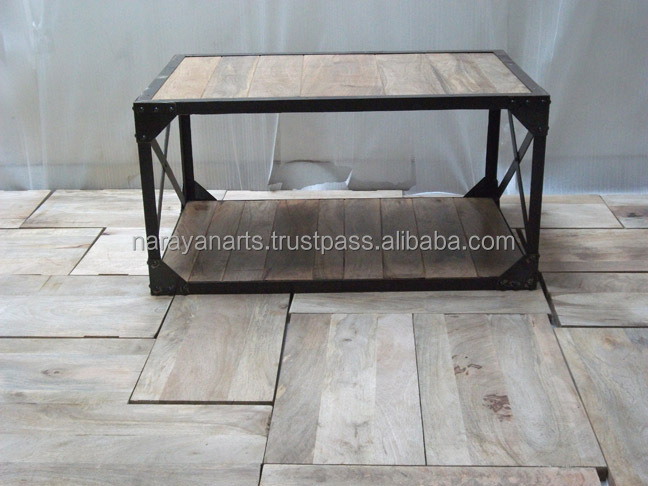 Vintage industrial iron wooden coffee table