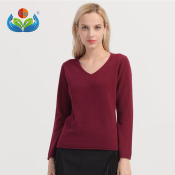 Autumn long sleeve pullover wholesale pure fine 100% cashmere women sweater