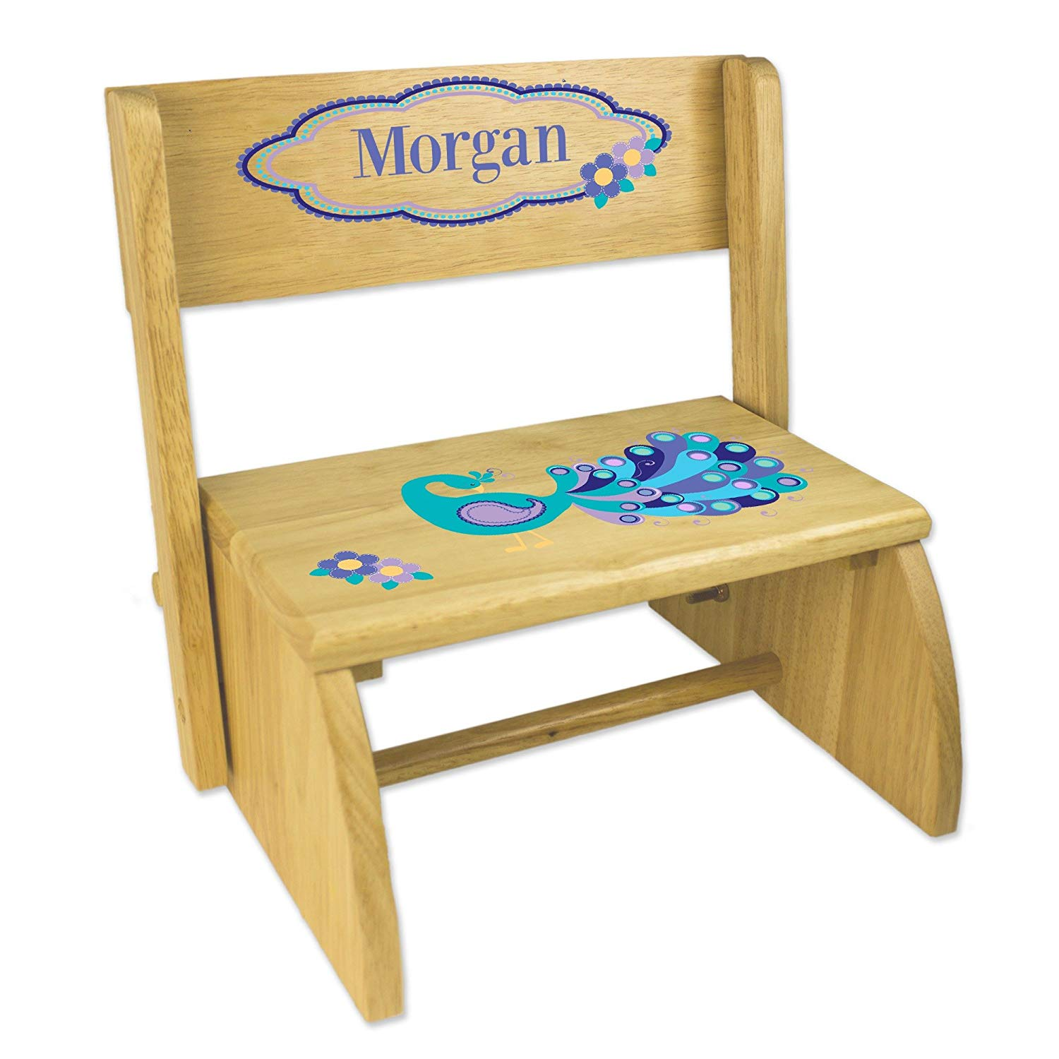 Personalized Peacock Natural Wooden Folding Stool and Seat