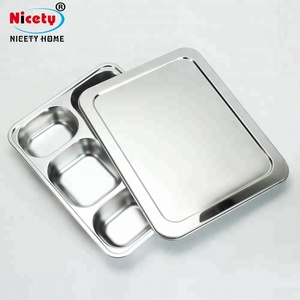 Rectangular Electrolytic stainless steel fast food tray / restaurant lunch tray / school dinner plate with PP lid