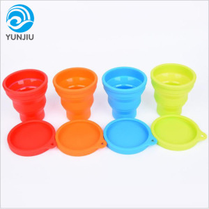 Reusable Collapsible Silicone Coffee Cups with Lids Silicone Folding Drinking Cup
