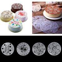 4pcs cake biscuit stencil bakery tool fondant mold Bakeware Baking Template Birthday Spiral Decoration