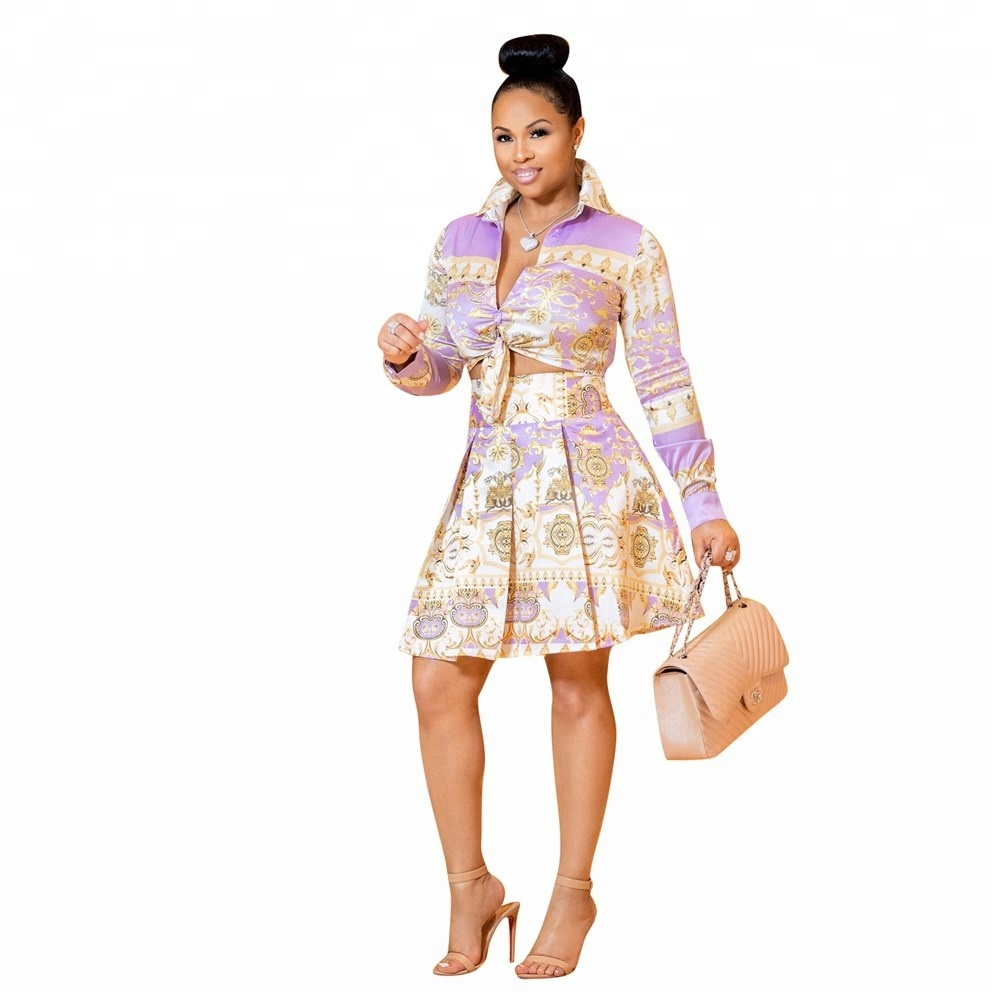Printing fashion clothing Pleated skirt 2 piece set for women