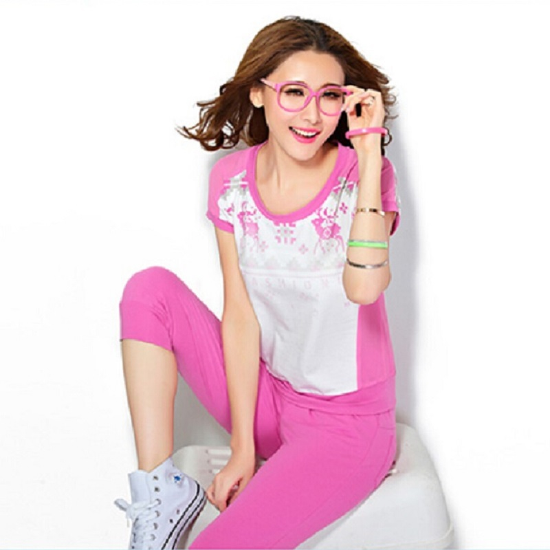Sport Suit Women 2015 Summer Style Two Piece Set Sportwear Women O-Neck Short Sleeve T Shirt & 3 Quarter Sport Pant Tracksuits
