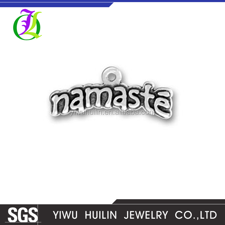 CN184902 Yiwu Huilin Jewelry Indian style pendant letter Namaste alphabet charms wholesale
