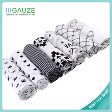 QB126 Most Popular Summer Necessary Printed Customd Thin Muslin Swaddle Blanket 3 Pack
