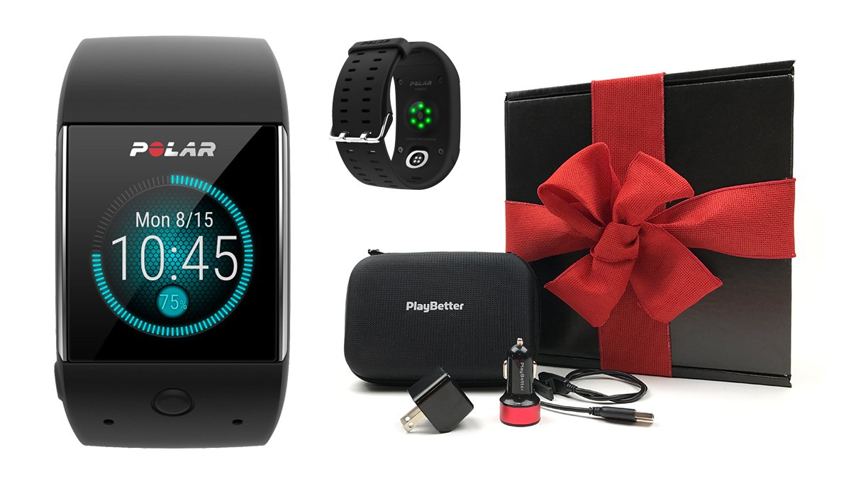 Polar M600 (Black) Gift Box Bundle | Includes Polar GPS Sports Smart Watch (with Wrist HR), PlayBetter USB Car & Wall Charging Adapters, Protective Hard Carrying Case