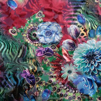 New Style Hot Stamping Flower Print Polyester Velvet Fabric Burnout