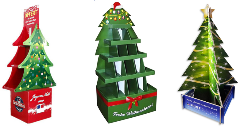 Holiday Sale Christmas Tree Cardboard Display Turntablechristmas